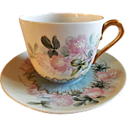 "Home Studio Hand Painted Porcelain ""Wild Clover Blossoms"" Pattern Tea Cup & Saucer"