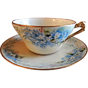 "Mandavy de Mavaleix Hand Painted Porcelain ""Forget-Me-Not"" Pattern Tea Cup & Saucer"