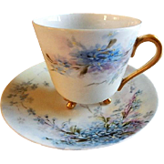 "Tressemann & Vogt Hand Painted Porcelain ""Forget-Me-Not"" Pattern Tea Cup & Saucer"