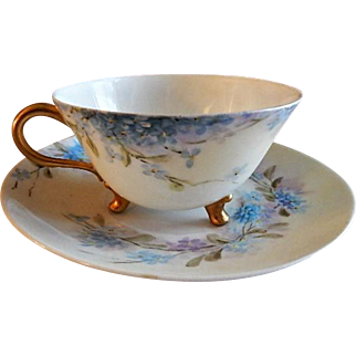 """Home Studio Hand Painted Porcelain """"Forget-Me-Not"""" Pattern Tea Cup & Saucer"""