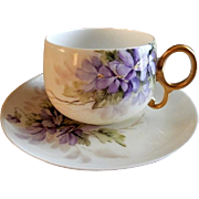 "Bawo & Dotter Hand Painted Porcelain ""Wild Violets"" Pattern Tea Cup & Saucer"