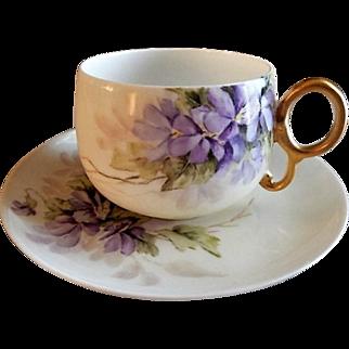 "Bawo & Dotter Hand Painted Porcelain ""Wild Violets"" Pattern Tea Cup & Saucer"