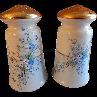 "Luken Studio Hand Painted Porcelain ""Forget-Me-Not"" Pattern Salt & Pepper Shakers"