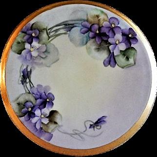 "Home Studio Hand Painted Porcelain ""Wild Violets"" Tea Tile Trivet"