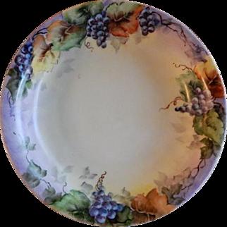 Bohemia Porcelain Hand Painted & Signed Bowl w/Grapes Motif