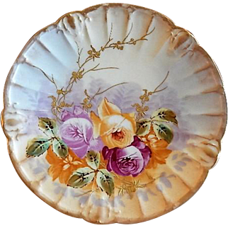 Blakeman & Henderson Hand Painted Cabinet Plate w/Tea Roses & Encrusted Gold Motif