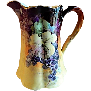 Julius H Brauer Studio Hand Painted Pitcher w/Grapes Motif