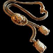 "Vintage Selro Figural ""Thai Girl"" Herringbone Bolo Slide Lariet Necklace"