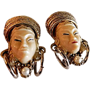 "Vintage Selro Figural ""Thai Girl"" Pair of Clip-Style Earrings"
