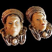 "Vintage Selro Figural ""Thai Girl"" Pair of Clip-Style Earrings"