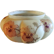 Smith Brothers Melon Ribbed Bowl w/ Pansy Blossoms Motif & Rampart Lion Mark