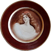 "Haviland & Company Limoges Hand Painted ""Portrait"" of Gorgeous Lady"