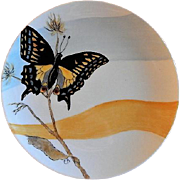 "Home Studio Hand Painted ""Anise Swallowtail Butterfly"" Plate"