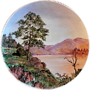"Home Studio Hand Painted ""Scenic Lake & Mountains"" Plate"
