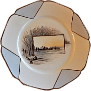 Charles Haviland Hand Painted Cabinet Plate w/Tree Lined Waterway & Buildings Motif - 2 of 6
