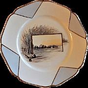 Charles Haviland Hand Painted Cabinet Plate w/Tree Lined Waterway & Buildings Motif - 2 of 6