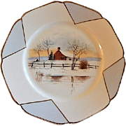 Charles Haviland Hand Painted Cabinet Plate w/Winter Scene of Cabin & Lake Motif - 3 of 6