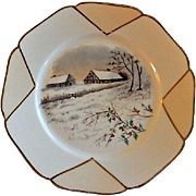 Charles Haviland Hand Painted Cabinet Plate w/Winter Country Farmstead Motif - 5 of 6