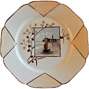 Charles Haviland Hand Painted Cabinet Plate w/Mystic Seaport Motif - 6 of 6