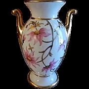 Stouffer Studio Hand Painted Porcelain Vase w/Pink & Gold Floral Motif - Artist Signed 'Regina'