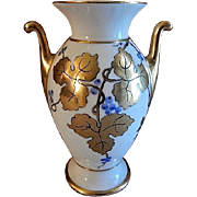 Stouffer Studio Hand Painted Porcelain Vase w/Blue & Gold Grape Motif - Artist Signed 'O Podl'