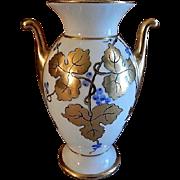 Stouffer Studio Hand Painted Porcelain Vase w/Blue & Gold Grape Motif - Artist Signed 'O Podl'