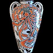 """Royal Nishiki Nippon Hand Painted Art Nouveau """"Chrysanthemum"""" Vase"""