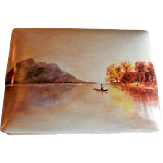 "Home Studio Hand Painted ""Lake Scene w/Boater"" Dresser/Trinket Box"