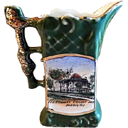 "Early 1900's Souvenir ""Lee County Court House Dixon IL"" Miniature Tankard Pitcher"