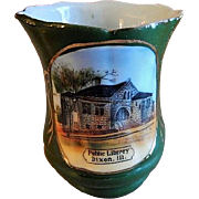 "Early 1900's Souvenir ""Public Library Dixon ILL"" Toothpick Holder"