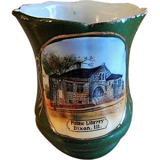 "Early 1900's Souvenir ""Public Library Dixon ILL"" Toothpick Holder"
