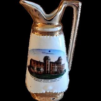 "Early 1900's Souvenir ""Main Building Dixon College And Normal School Dixon ILL"" Miniature Ewer"
