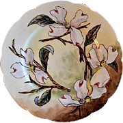 CFH/GDM Limoges Hand Painted Cabinet Plate w/Dogwood Blossoms Floral Motif