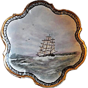 "Home Studio Hand Painted ""Clipper Ship"" Plate"