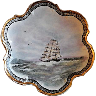 """Home Studio Hand Painted """"Clipper Ship"""" Plate"""
