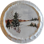 "Home Studio Hand Painted ""Winter Snow Scene"" Tea Tile"