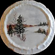 "Home Studio Hand Painted ""Winter Snow Scene"" Tea Tile"
