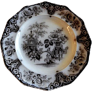 "James Edwards - Mulberry Transfer-ware Plate - ""Bochara"" Pattern"