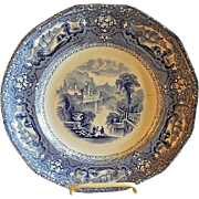 "Thomas Goodfellow - Blue Transfer-ware Plate - ""Allegheny"" Pattern"
