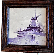 Framed Tile - Dutch Windmill Scene - Circa 1930's