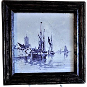Framed Tile - Dutch Canal/Coastal Scene - Circa 1930's