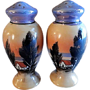 Japan Hand Painted Salt & Pepper Set w/Scenic Country Retreat Motif