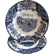 "Wedgwood & Co (Ltd) Blue Transfer-Ware ""Horned Cattle"" Motif Dinner Plates - Set of 2"