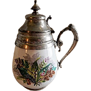 Manning & Bowman Pewter Trimmed Enameled Granite-Ware Syrup Pitcher