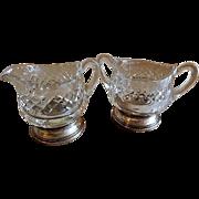 Cut Crystal Individual Sugar & Creamer Set w/Sterling Silver Bases