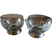 Etched Crystal Sugar & Creamer Set w/Sterling Silver Bases