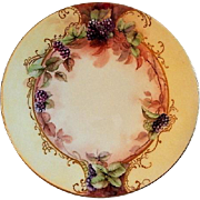 Jean Pouyat (JPL) Limoges Hand Painted Cabinet Plate w/Blackberry Motif - 2 of 6 Plates