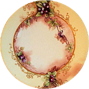 Jean Pouyat (JPL) Limoges Hand Painted Cabinet Plate w/Blueberry Motif - 4 of 6 Plates