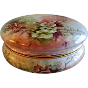 T&V Limoges Hand Painted Dresser/Vanity Box w/Wild Rose Blossoms Motif