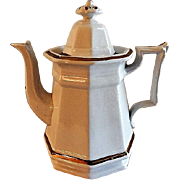 Livesley & Powell Ironstone China Coffee Pot w/Copper Lustre Decoration